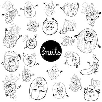 Cartoon fruit tekens ingesteld kleurenboek