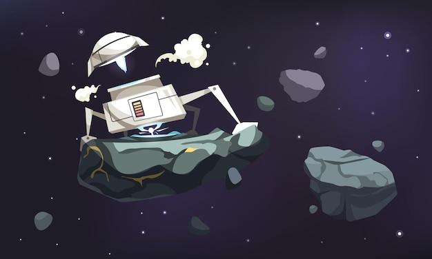 Cartoon futuristisch met robotachtig object dat ruimte-element in de sterrenhemel houdt