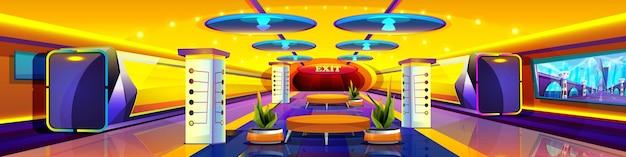 Cartoon futuristische trein in metrostation. moderne ondergrondse interieur. leeg metroplatform met gloeiende lampen, kaart. ongewone openbare spoorlijn. metropolita of spoorweg stedelijk vervoer.