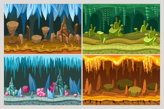 Cartoon game cave landscapes set
