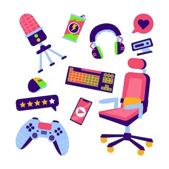Cartoon game streamer concept elementen collectie