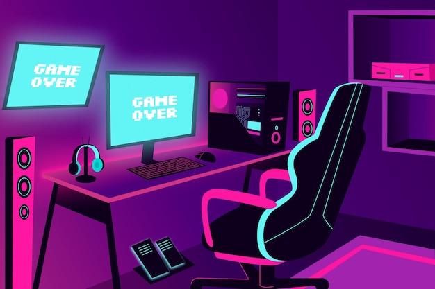 Cartoon gamer kamer illustratie