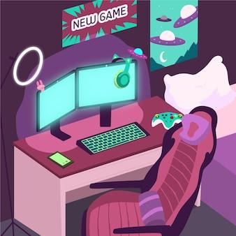 Cartoon gamer kamer