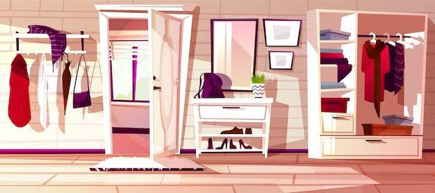 Cartoon gang met open witte deur. binnenlandse achtergrond van huis.