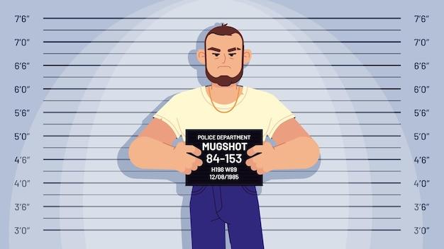 Cartoon gearresteerde gangster mugshot