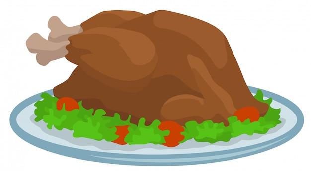 Cartoon gebakken thanksgiving day kalkoen op lade