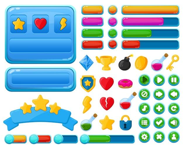 Cartoon gebruikersinterface casual videogames ui kit-elementen. spelinterfaceknoppen, menu-elementen en speltrofeeën vectorillustratieset. casual games ui kit-symbolen als trofee, diamant, hart