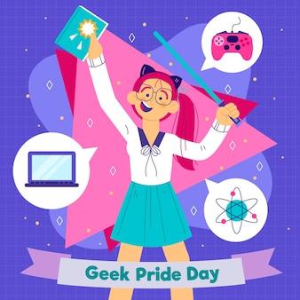 Cartoon geek pride day illustratie