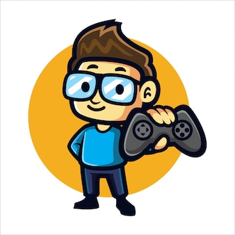 Cartoon geeky gamer