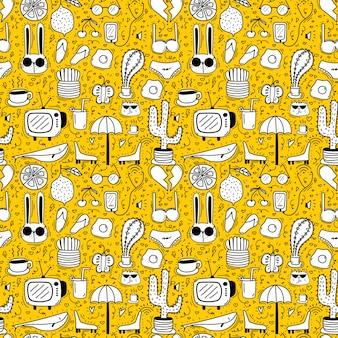 Cartoon geel naadloos patroon