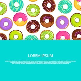 Cartoon geglazuurde donuts achtergrond sjabloon