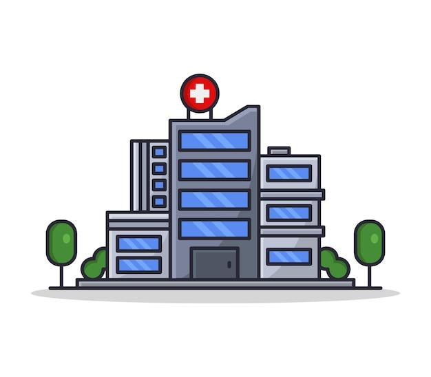 Cartoon geïllustreerd ziekenhuis