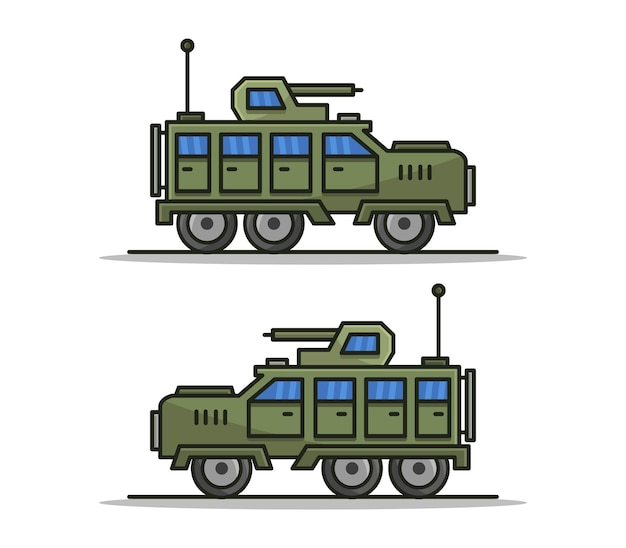 Cartoon geïllustreerde militaire jeep