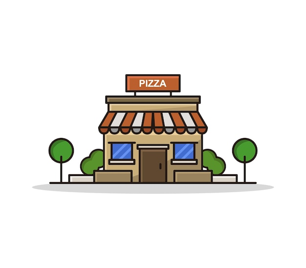 Cartoon geïllustreerde pizzeria