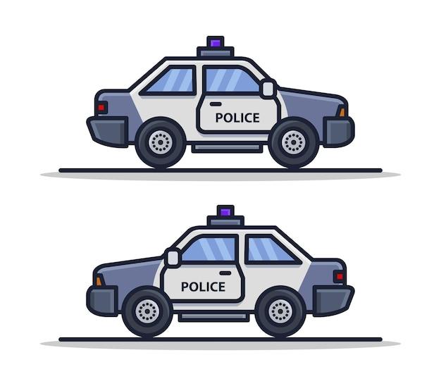 Cartoon geïllustreerde politiewagen set