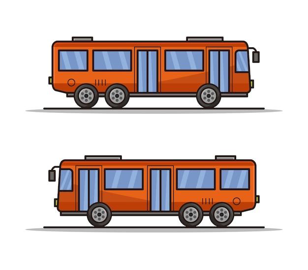 Cartoon geïllustreerde stadsbus