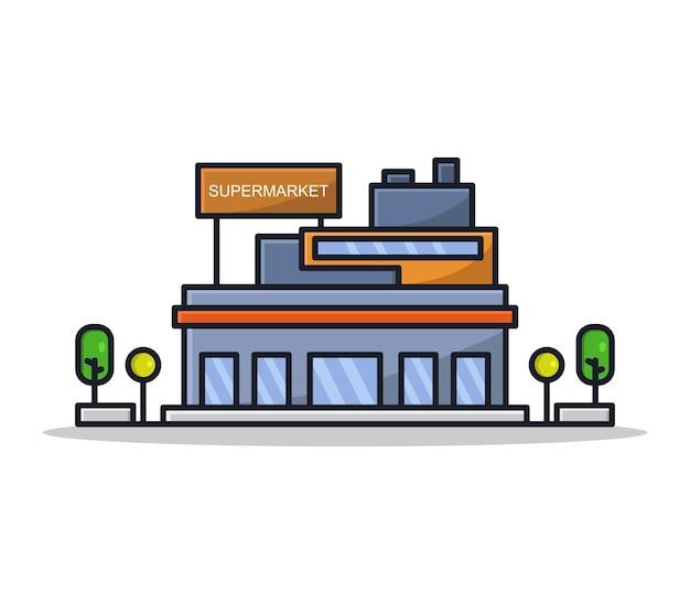 Cartoon geïllustreerde supermarkt