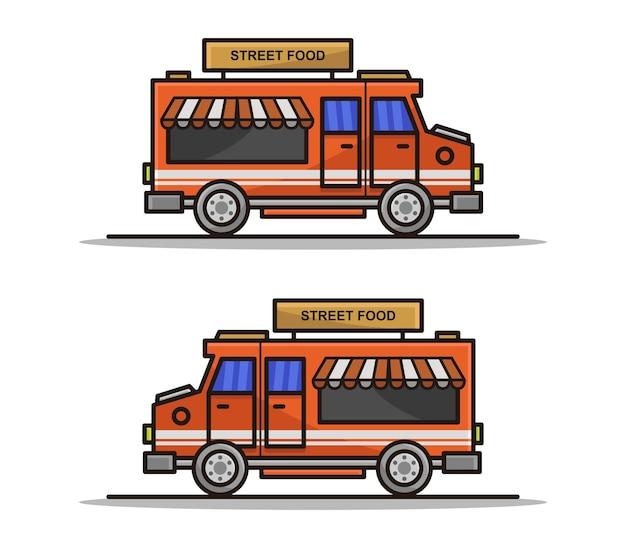 Cartoon geïllustreerde voedselvrachtwagen