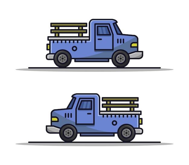 Cartoon geïllustreerde vrachtwagen set