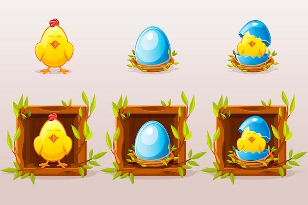 Cartoon geïsoleerde blauwe eieren en kip in het vierkant van twijgen