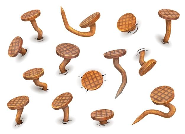 Cartoon geïsoleerde roestige gebogen spijkers en zoolspijkers, vector iconen. nagels gebogen door hamer met ijzeren koppen, oude pinnen of spikes met roest, krom of gebroken en gebogen met scherpe randen