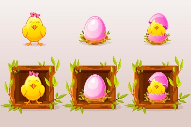 Cartoon geïsoleerde roze eieren en kip in het vierkant van twijgen