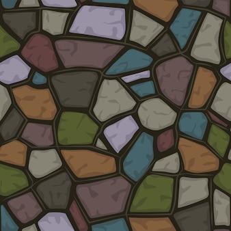 Cartoon gekleurde steen naadloze achtergrond, structuurpatroon