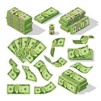 Cartoon geld rekeningen. groene dollar bankbiljetten contant geld vector iconen. cash geld papier, financiële stapel bankbiljetten illustratie