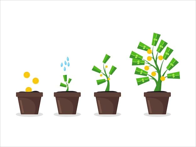 Cartoon geldboom groeien in pot concept succes financiën investeringen, symbool van winst. vector illustratie