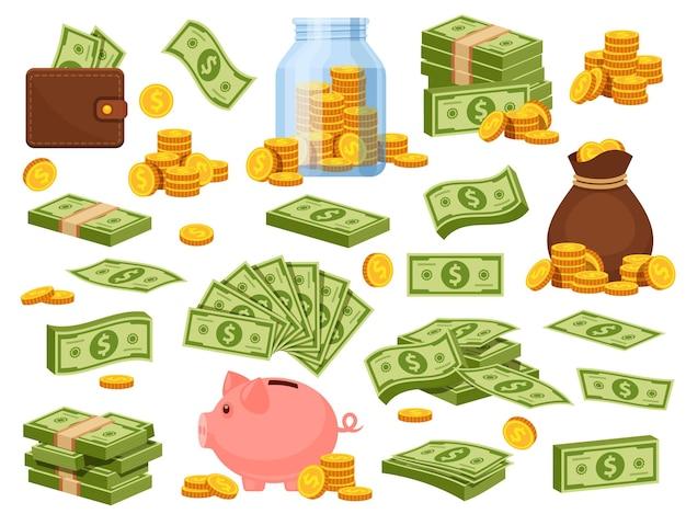 Cartoon geldzak en stapels. spaarvarken, bankbiljetpakketten, portemonnee met dollarbiljetten, gouden stapels en zak met munten. contant spaargeld vector set