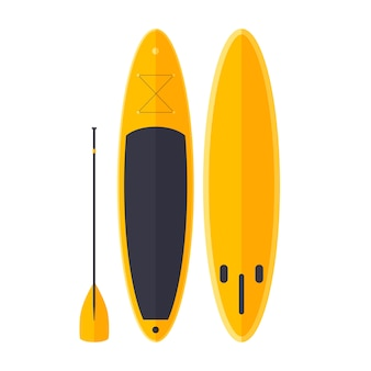 Cartoon gele surfer met peddel. sup voor skaten op oceaangolven.