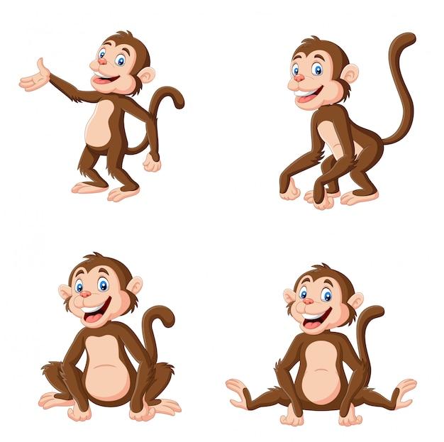 Cartoon gelukkig aap in verschillende pose