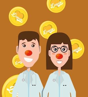 Cartoon gelukkig artsen met rode neuzen