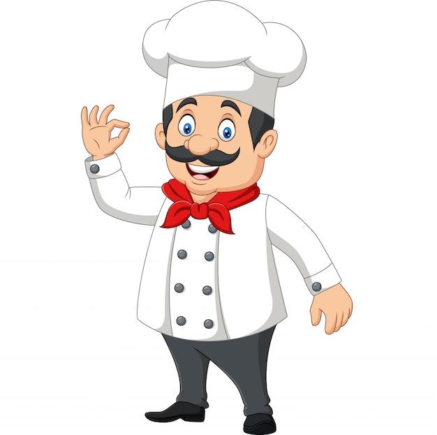 Cartoon gelukkig chef-kok met ok teken