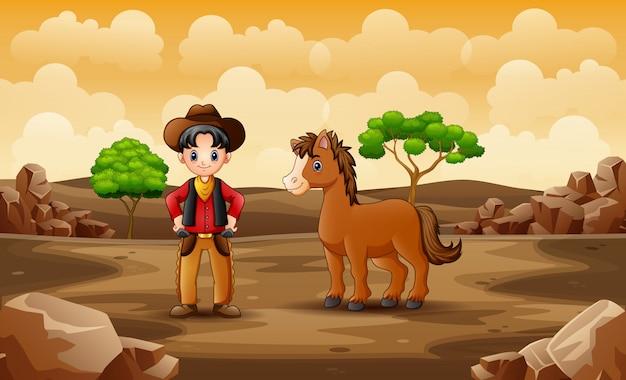 Cartoon gelukkig cowboy met paard in de woestijn