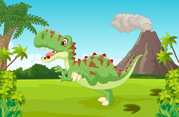 Cartoon gelukkig dinosaurus met berg