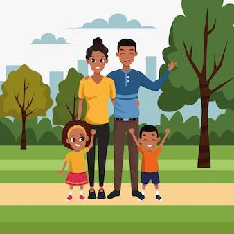 Cartoon gelukkig gezin met kinderen