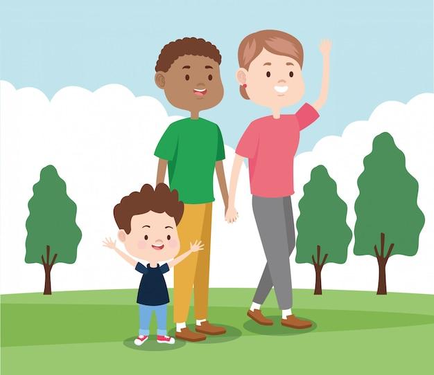 Cartoon gelukkig gezin met klein kind