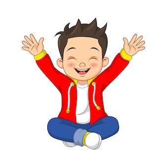 Cartoon gelukkig jongetje zitten