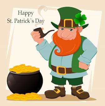 Cartoon gelukkig kabouter, saint patrick's day