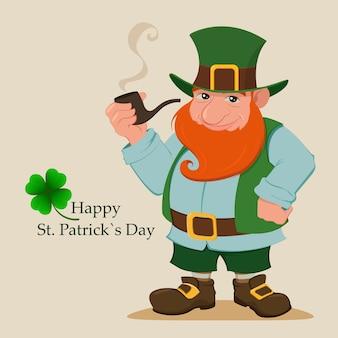 Cartoon gelukkig kabouter. saint patrick's day.