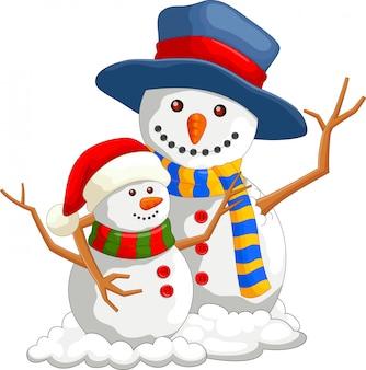 Cartoon gelukkig kerst sneeuwpop