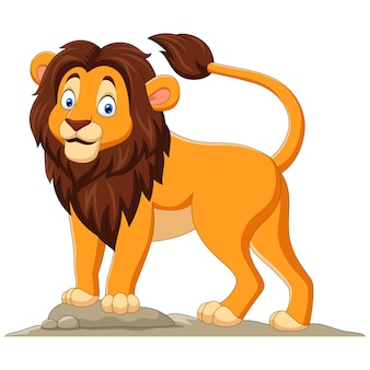 Cartoon gelukkig leeuw op wit