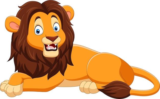 Cartoon gelukkig leeuw op wit Premium Vector