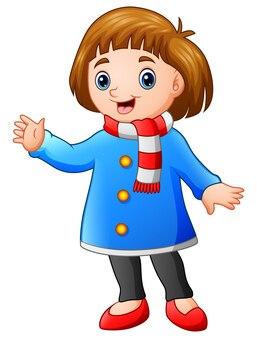 Cartoon gelukkig meisje in winterkleren