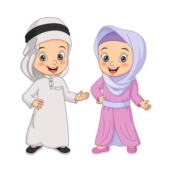 Cartoon gelukkig moslim arabische kinderen illustratie