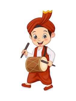 Cartoon gelukkig punjabi jongen dhol spelen