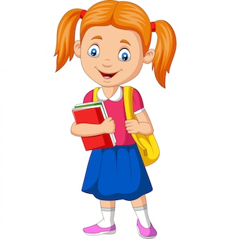 Cartoon gelukkig school meisje boek en rugzak dragen
