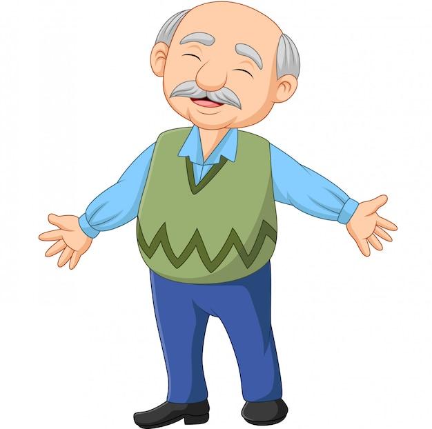 Cartoon gelukkig senior bejaarde oude man