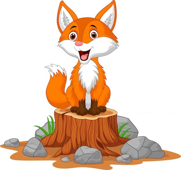 Cartoon gelukkig vos zittend op boomstronk